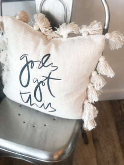 God's Got This Cream Tassel Pillow