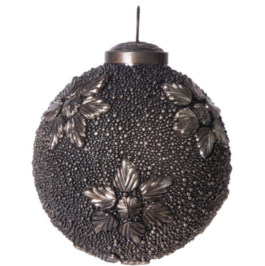 "4"" Gunmetal Beaded Antique Ornament"
