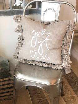 God's Got This Gray Tassel Pillow