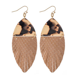 The leather feather camel Earrings