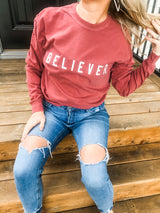 BELIEVER  brick red long sleeve