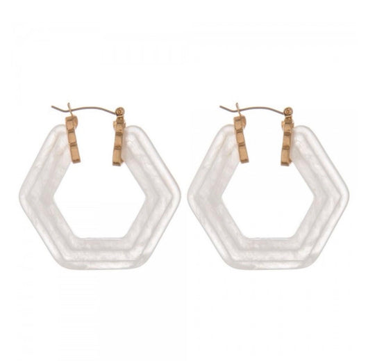 The Ivory Octagon Hoop Earrings