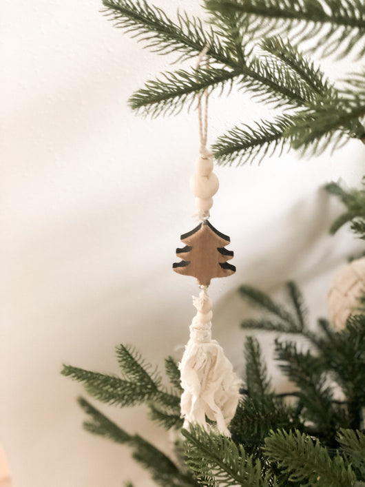 Tree Wood with Tassel Ornament