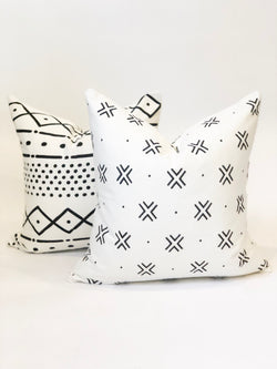 2 pack of Black and White Printed Mudcloth Covers