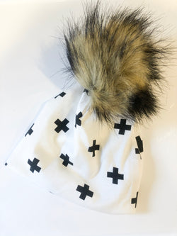 Black and White Cross Pom Hat