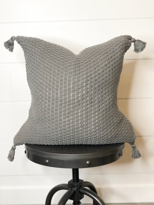 Charlie Charcoal Tassel Pillow Cover