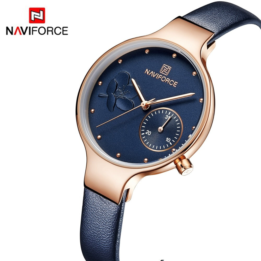 NAVIFORCE Women Fashion Blue Quartz Watch Lady Leather Watchband