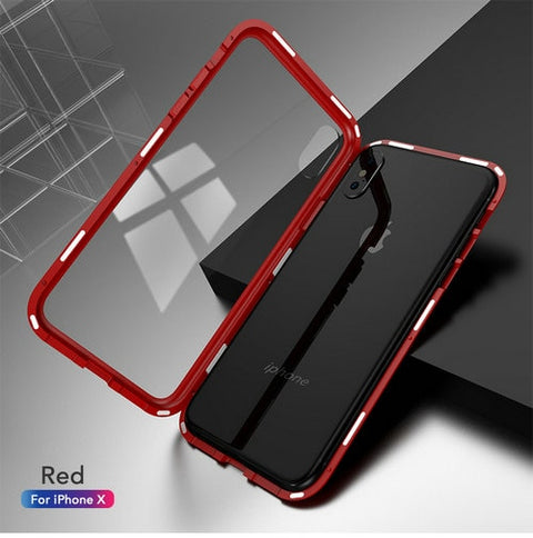 Metal Magnetic Case for iPhone XR XS MAX X 8 7 Plus & Tempered Glass Magnet Back Cover for iphone