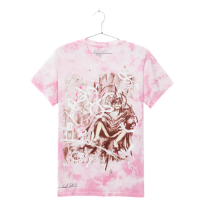 Grey Painting on Pink Tee