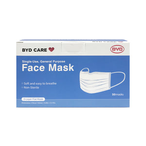 BYD 3PLY Single Use Face Mask, 1 Pack of 50 masks