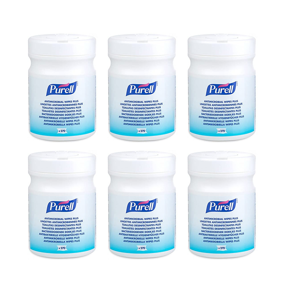 PURELL® Ability Superstore Purell Antimicrobial Wipes Plus Tub - 6 X Pack of 270