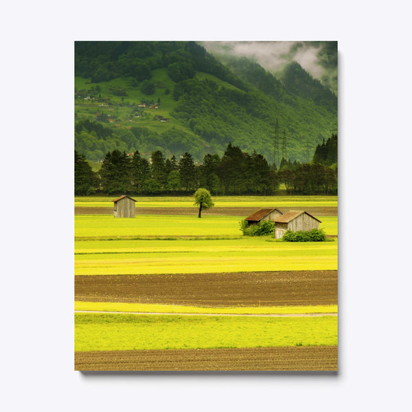 Mountains Nature Field Canvas Print