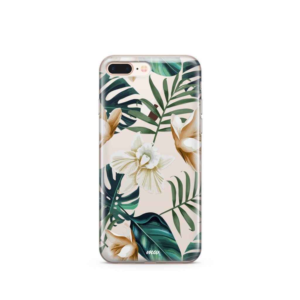 Luxe Greenery Clear iPhone Case | Flexible Phone Cover