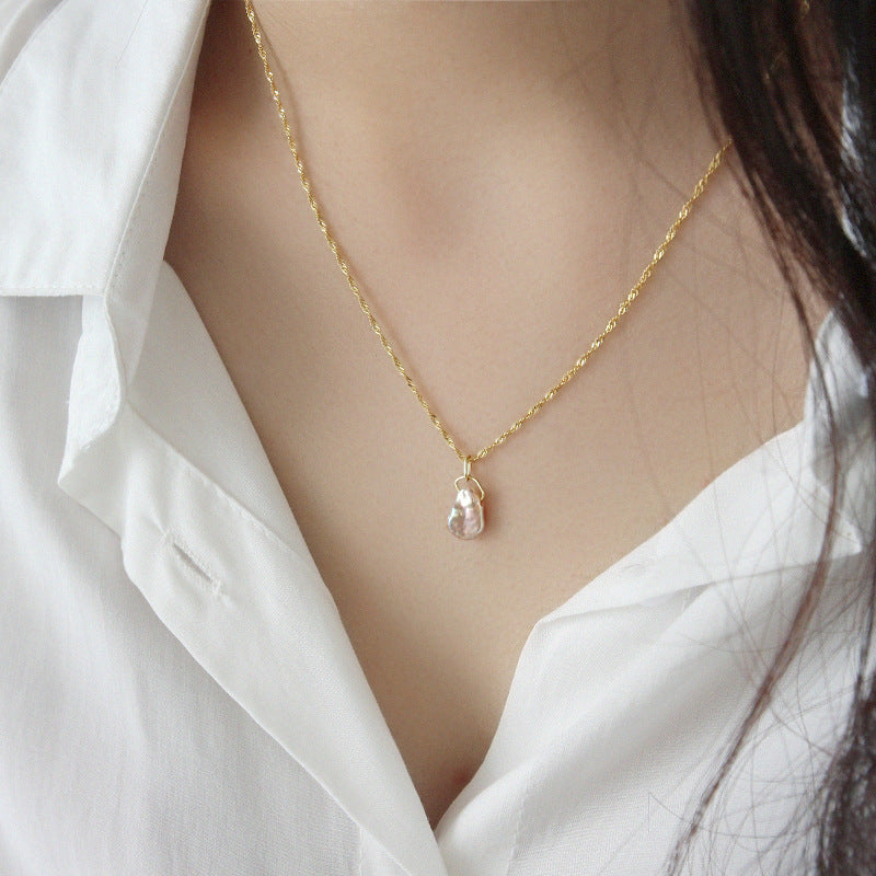 Gold Vermeil Baroque Pearl Necklace