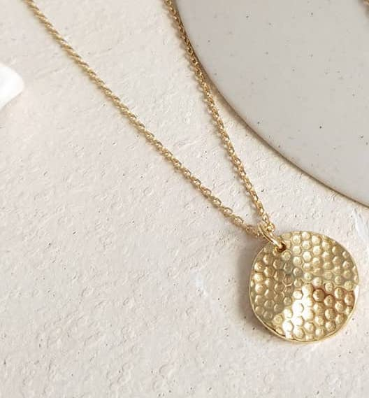Honeycomb Gold Coin Pendant Necklace