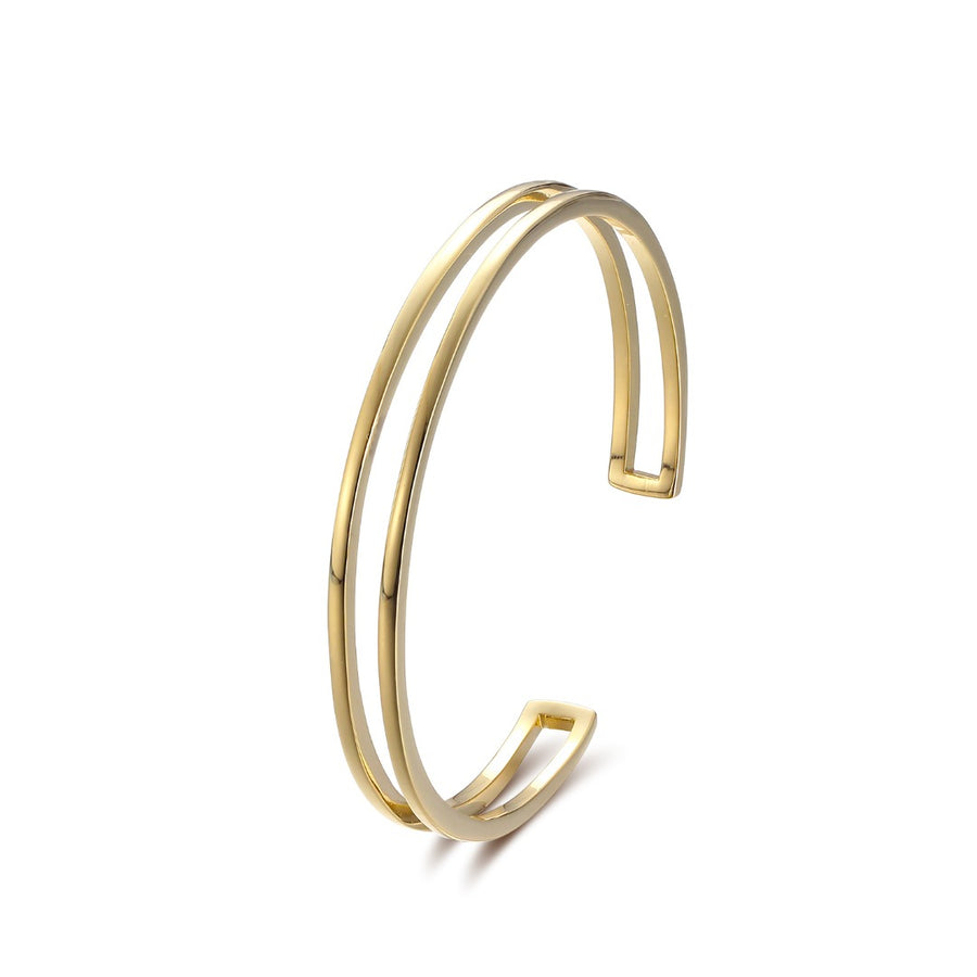 Gold Lyra Double Cuff Bangle