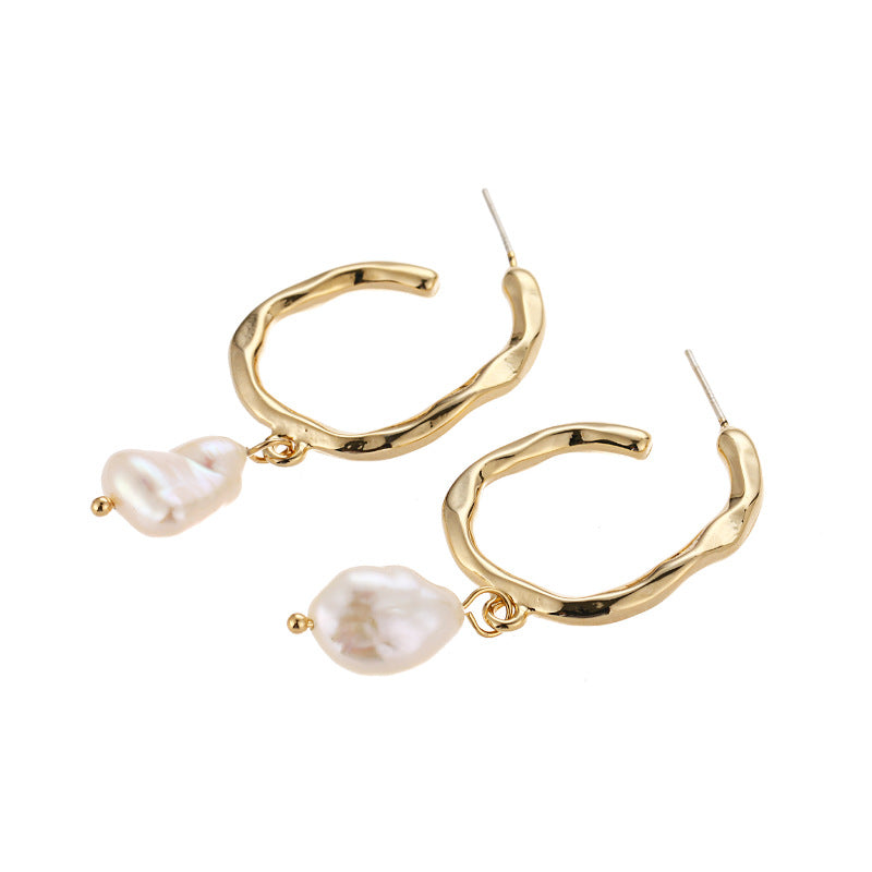 Gold Vermeil Freshwater Pearl Demi Hoop Earrings