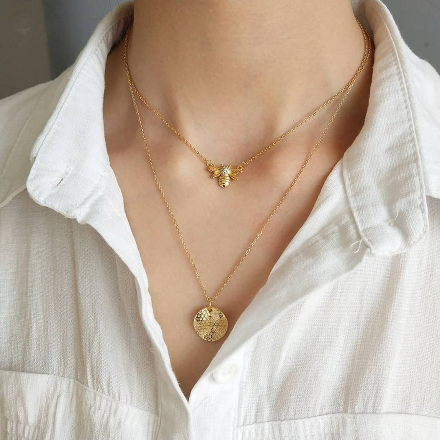 Honeycomb Gold Coin Necklace