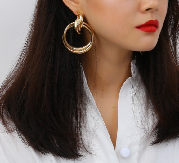 Statement Drop Hoop Earrings