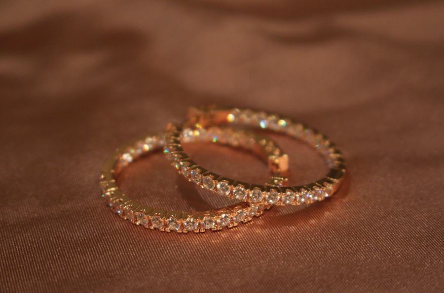 Lucet Rose Gold Pavé Hoop Earrings