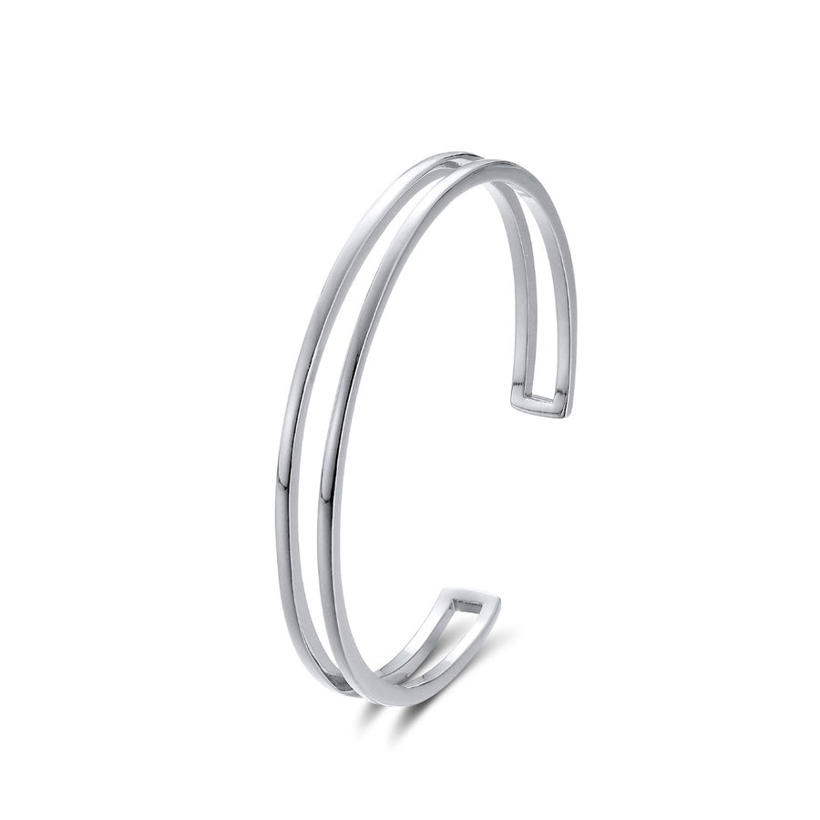 Silver Lyra Double Cuff Bangle Estee Lane