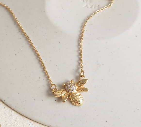 Golden Bee Pendant Necklace
