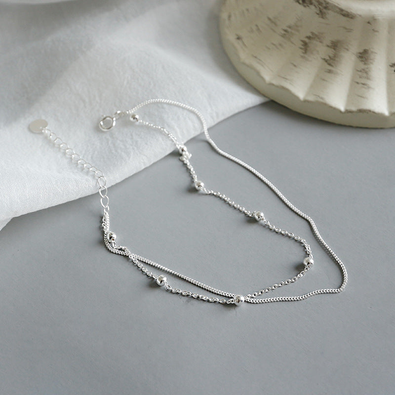 Sterling Silver Double Layer Beaded Anklet