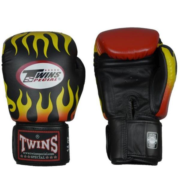 Guantes Twins Special Fire Flame Muay Thai - Boxeo - Negro -100% Cuero - MMA Store Peru