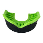 Protector Bucal Grip Damage Control color negro con verde neon. Ideal para todo deporte.
