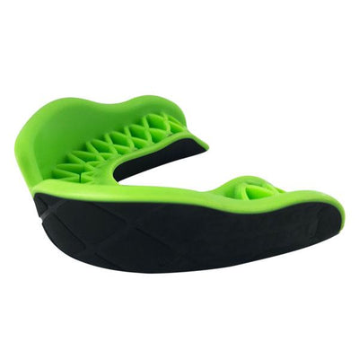 Protector Bucal Grip Damage Control color negro con verde neon. Ideal para todo deporte
