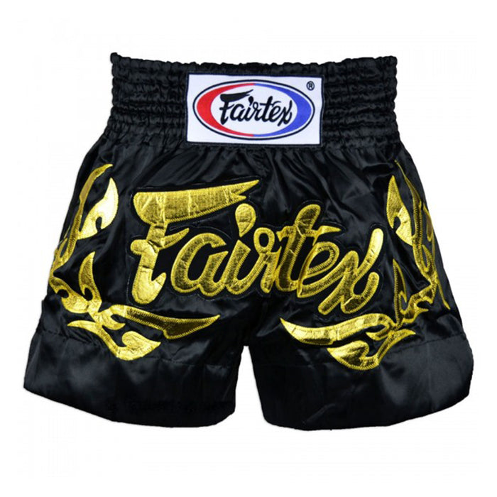 Short Fairtex para Muay Thai Eternal Gold Negro