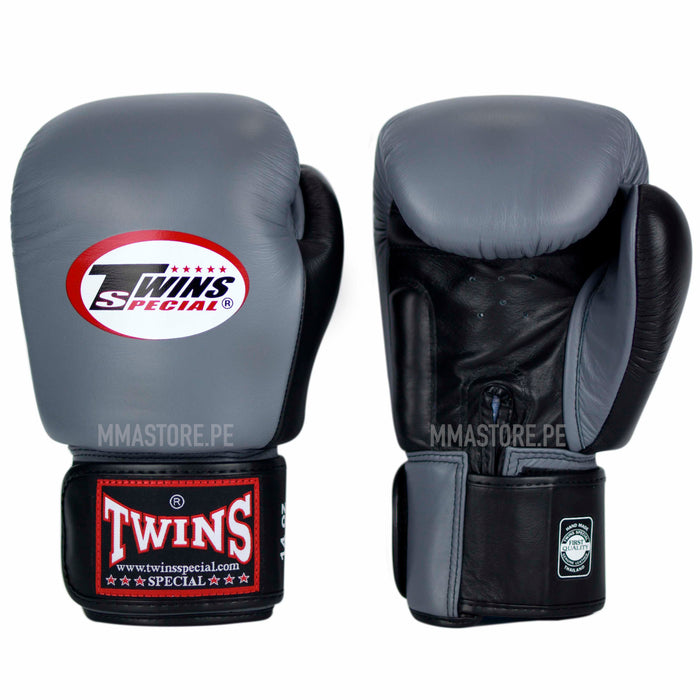 Guantes Twins Special Muay Thai - Boxeo - 2T Gris- Negro - 100% Cuero - MMA Store Peru