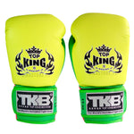 Guantes de Boxeo Top King Doble Lock Amarillo Neon - 100% Cuero