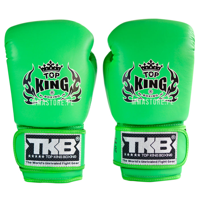 Guantes de Boxeo Top King Doble Lock Verde Neon - 100% Cuero