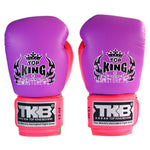 Guantes de Boxeo Top King Doble Lock Morado Neon - 100% Cuero