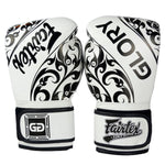 Guantes Fairtex Glory Tribal Muay Thai o Boxeo Blanco de Cuero