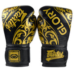 Guantes Fairtex Glory Tribal Muay Thai - Boxeo - Negro - 100% Cuero