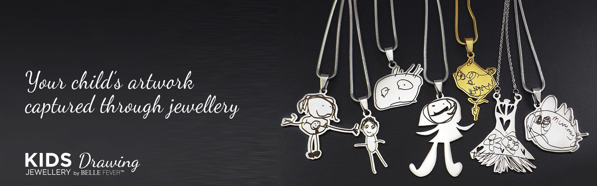 Belle Fever personalised Kids Drawing Necklace Jewellery