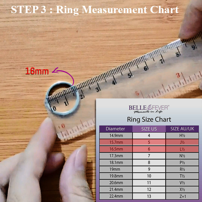 Once you have the inside diameter measurement, refer to our Belle Fever ring size chart