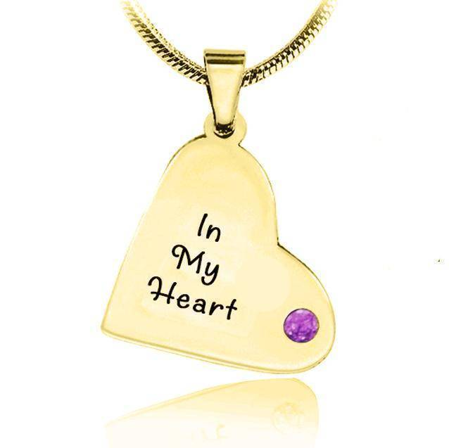 ADDITIONAL Childrens Heart Birthstone Necklace-Gold- BELLE FEVER Personalised Jewellery