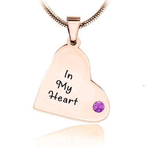 ADDITIONAL Childrens Heart Birthstone Necklace-Rose Gold- BELLE FEVER Personalised Jewellery