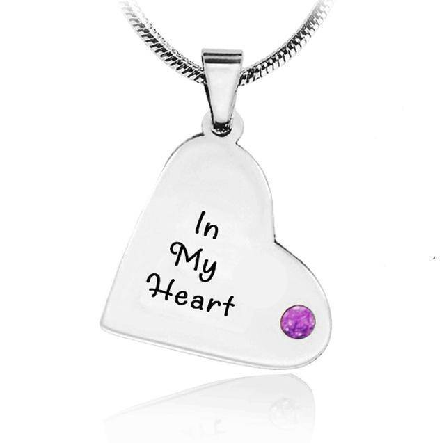 ADDITIONAL Childrens Heart Birthstone Necklace-Silver- BELLE FEVER Personalised Jewellery