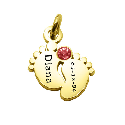 ADDITIONAL Feet Birthstone for Cant Be Replaced Necklace-Gold- BELLE FEVER Personalised Jewellery