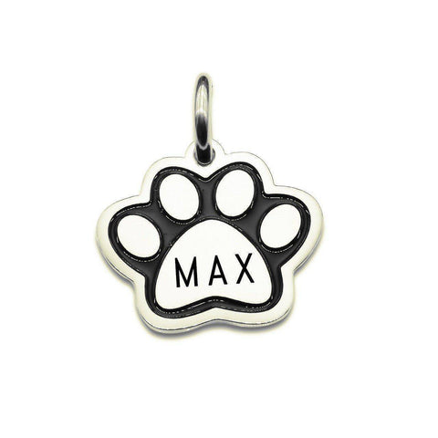 AddOn Special Single Paw Print Charm for Keyring-Silver- BELLE FEVER Personalised Jewellery