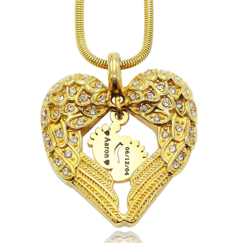 Angels Heart Necklace with Feet Insert-Gold- BELLE FEVER Personalised Jewellery