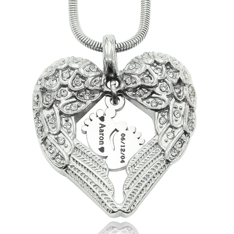Angels Heart Necklace with Feet Insert-Silver- BELLE FEVER Personalised Jewellery