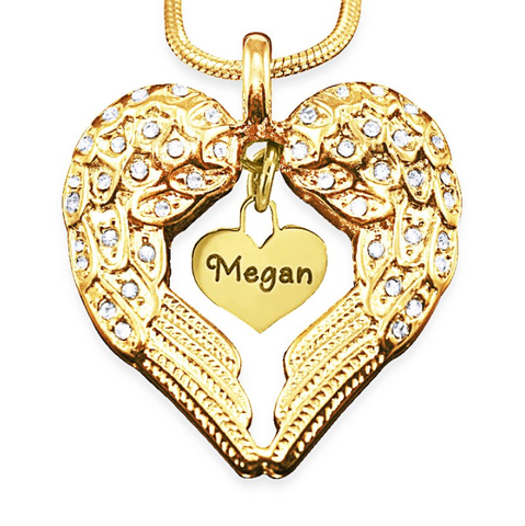 Angels Heart Necklace with Heart Insert-Gold- BELLE FEVER Personalised Jewellery