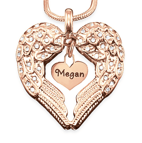Angels Heart Necklace with Heart Insert-Rose Gold- BELLE FEVER Personalised Jewellery