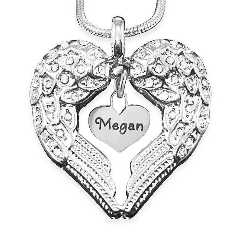 Angels Heart Necklace with Heart Insert-Silver- BELLE FEVER Personalised Jewellery