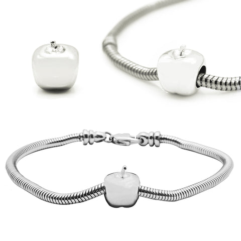Apple Charm for Moments Bracelet-Silver- BELLE FEVER Personalised Jewellery